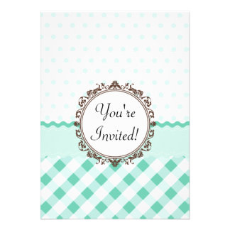 Mint Polkadots Check and Stripes with Monogram Personalized Invites