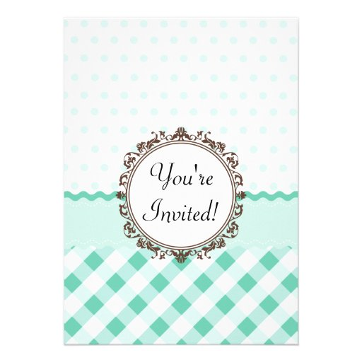 Mint Polkadots, Check and Stripes with Monogram Personalized Invites