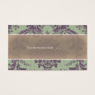 Mint Purple elegant damask place card