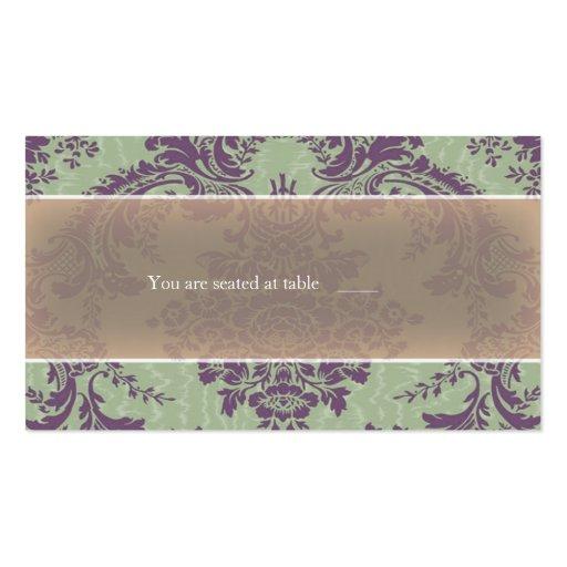 Mint Purple elegant damask place card Business Card Template