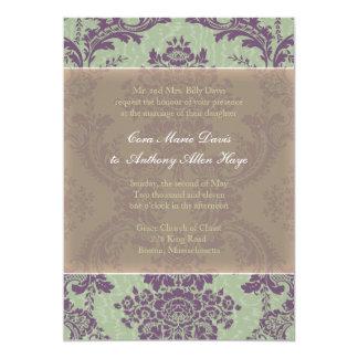 Mint Purple Elegant Damask Wedding Invitation