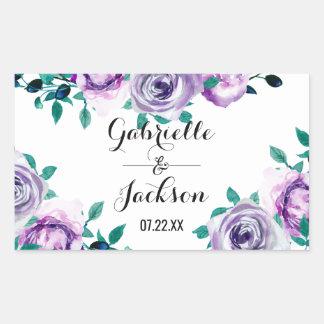 Mint & Purple Floral Watercolor Wedding Monogram Rectangular Sticker