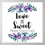 Mint & Purple Floral Wedding Love is Sweet Poster