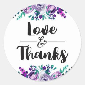 Mint & Purple Floral Wedding Love & Thanks Favor Round Sticker