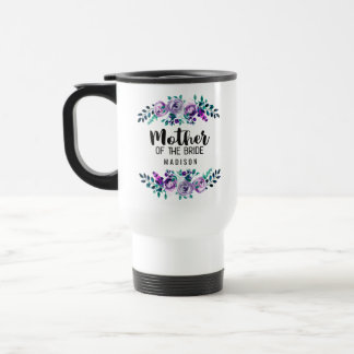 Mint & Purple Floral Wreath Mother of the Bride Travel Mug