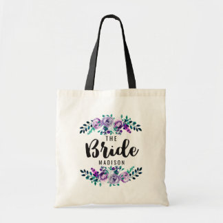 Mint & Purple Floral Wreath Wedding Bride Tote Bag