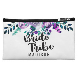 Mint & Purple Floral Wreath Wedding Bride Tribe Cosmetic Bag