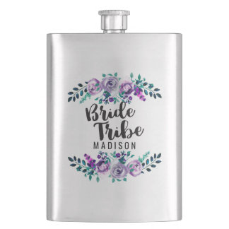 Mint & Purple Floral Wreath Wedding Bride Tribe Hip Flask