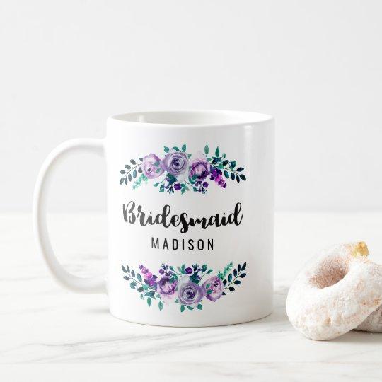 Mint & Purple Floral Wreath Wedding Bridesmaid Coffee