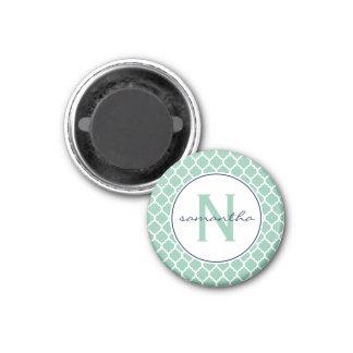 Mint Quatrefoil Monogram 3 Cm Round Magnet