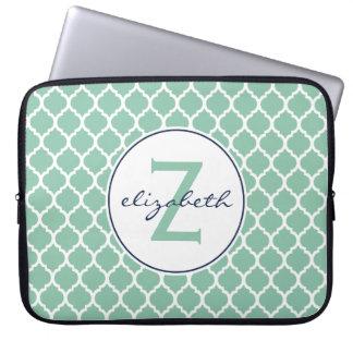 Mint Quatrefoil Monogram Laptop Sleeve