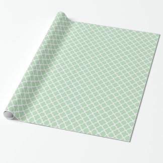 Mint Quatrefoil Wrapping Paper