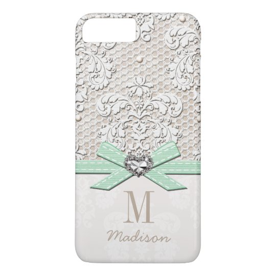 Mint Rhinestone Look Printed Lace and Bow Heart