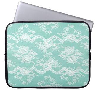 Mint Romantic Lace Laptop Sleeve