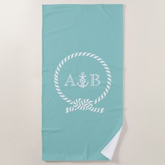 Mint Rope and Anchor Monogrammed Beach Towel