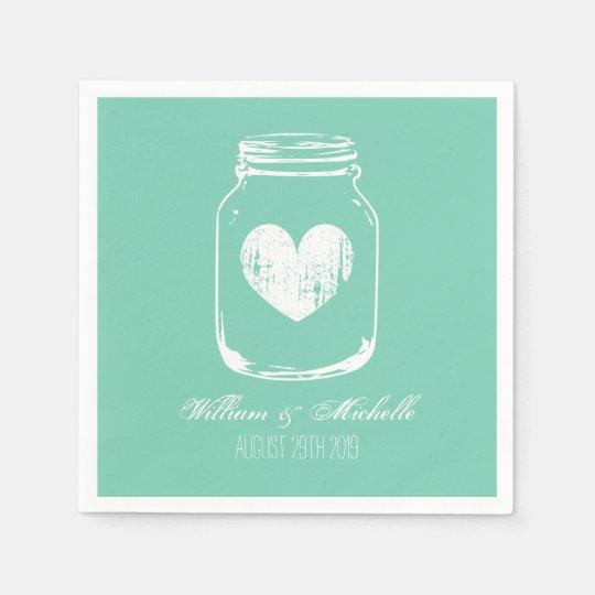 Mint rustic country chic mason jar wedding napkins