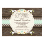 MINT RUSTIC FLORAL BOHO BABY SPRINKLE INVITATION