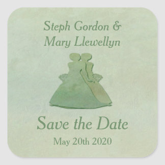Mint Rustic Lesbian Wedding Sticker Save the Date