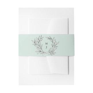 Mint Rustic Monogram Wreath Invitation Belly Band