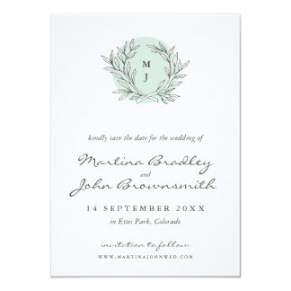 Mint Rustic Monogram Wreath Save the Date Card