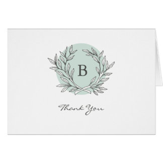 Mint Rustic Monogram Wreath Thank You Note Card