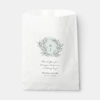 Mint Rustic Monogram Wreath Wedding Favor Bag