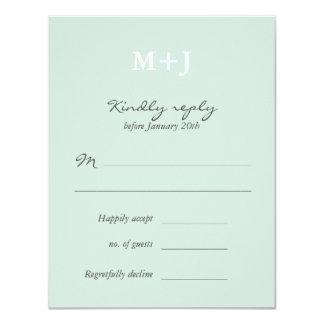 Mint Rustic Monogram Wreath Wedding RSVP reply 11 Cm X 14 Cm Invitation Card