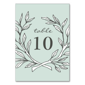 Mint Rustic Wreath Wedding Reception Table Number