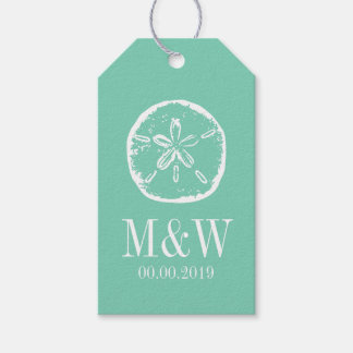 Mint sand dollar beach wedding favor gift tags