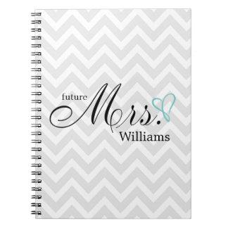 Mint Scribbled Heart Future Mrs Wedding Notebook
