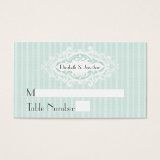 Mint Scrolls and Ribbons Wedding Place Cards