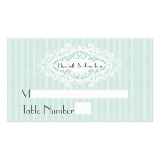 Mint Scrolls and Ribbons Wedding Place Cards Business Card Template