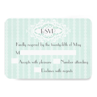 Mint Scrolls and Ribbons Wedding RSVP 9 Cm X 13 Cm Invitation Card