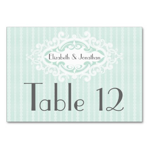 Mint Scrolls and Ribbons Wedding Table Cards