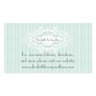 Mint Scrolls and Ribbons Wedding Website Pack Of Standard Business Cards