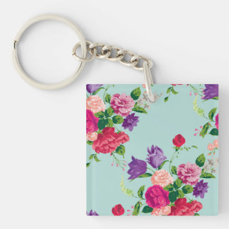 mint,shabby chic,girly,trendy,vintage,roses,floral Double-Sided square acrylic key ring