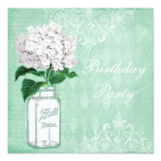 Mint Shabby Chic Jar & Hydrangea Birthday Party 13 Cm X 13 Cm Square Invitation Card