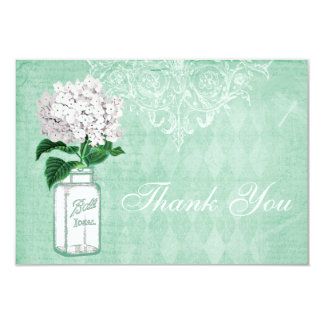Mint Shabby Chic Jar & Hydrangea Thank You Wedding 9 Cm X 13 Cm Invitation Card