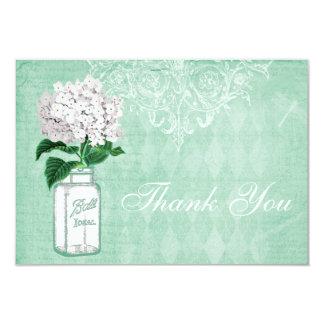 Mint Shabby Chic Jar & Hydrangea Thank You Wedding Card