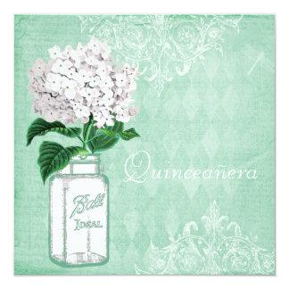 Mint Shabby Chic Mason Jar & Hydrangea Quinceanera 13 Cm X 13 Cm Square Invitation Card