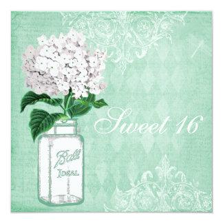Mint Shabby Chic Mason Jar & Hydrangea Sweet 16 13 Cm X 13 Cm Square Invitation Card