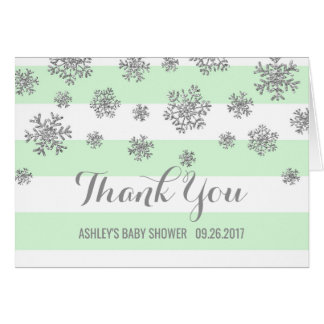 Mint Silver Snowflakes Baby Shower Thank You Card