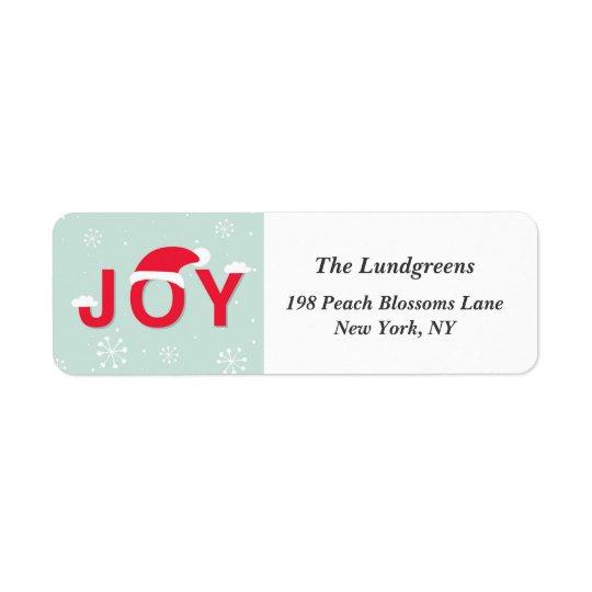 Mint Snow Joy Holiday Return Address Label