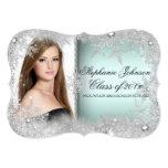 Mint Snowflake Winter Wonderland Graduation Card 13 Cm X 18 Cm Invitation Card