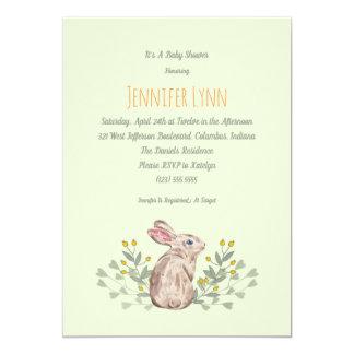 Mint Spring Woodland Bunny Baby Shower Invitation
