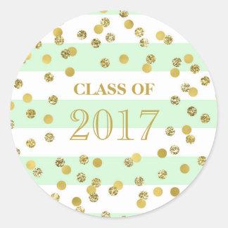 Mint Stripe Gold Confetti Graduation Class of 2017 Classic Round Sticker