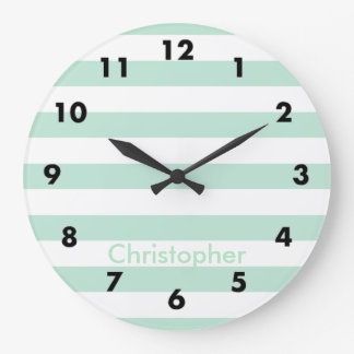 Mint stripe large clock