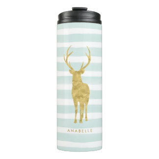 Mint Stripes and Gold Deer Head Thermal Tumbler