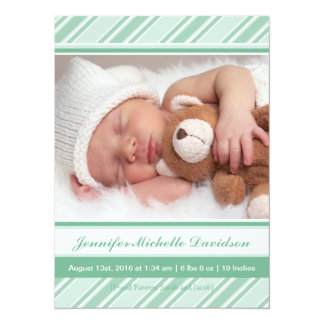 Mint Stripes Baby Girl Birth Announcements
