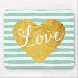 Mint Stripes Fake Gold Love Heart Cute Girly Mousepad